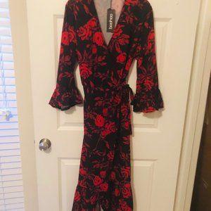 Boohoo red & black floral wrap maxi dress